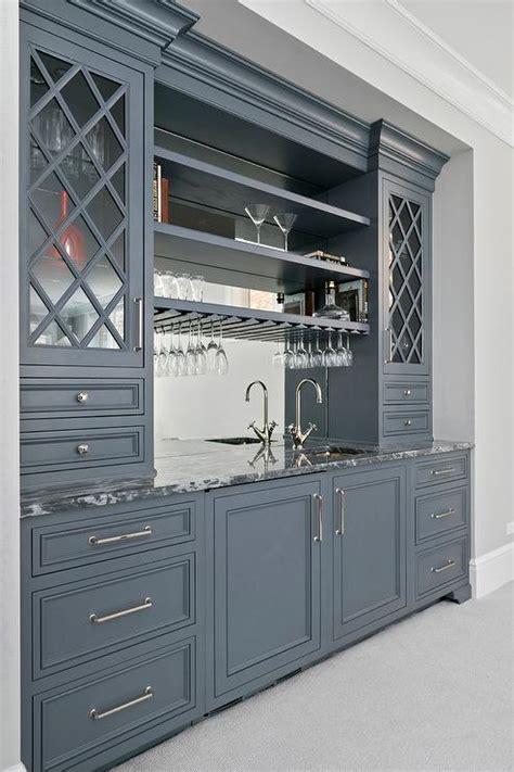 Grey Bar Cabinet Gray Bar Cabinets With Gold Pulls Transitional Kitchen Benjamin Gunmetal