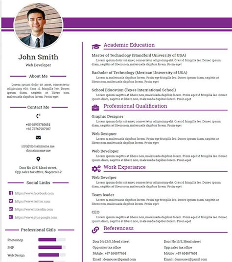 html templates for personal profile free personal profile resume html website template