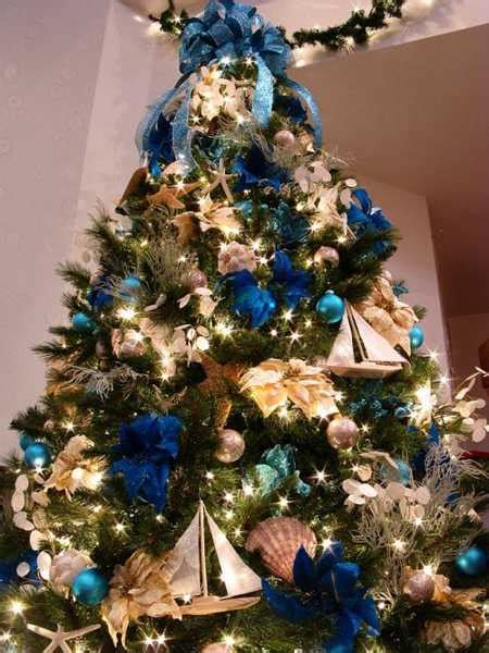 blue christmas tree bows modern color combinations and ornaments for tree decorating in style