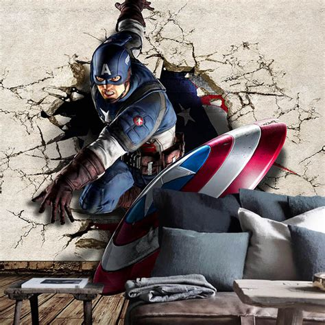 Personalised Bedroom Wall Stickers aliexpress com buy captain america photo wallpaper 3d