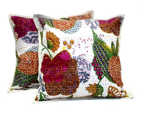 Handmade Pillow Cases - 2 white handmade pillowcase traditional kantha stitch