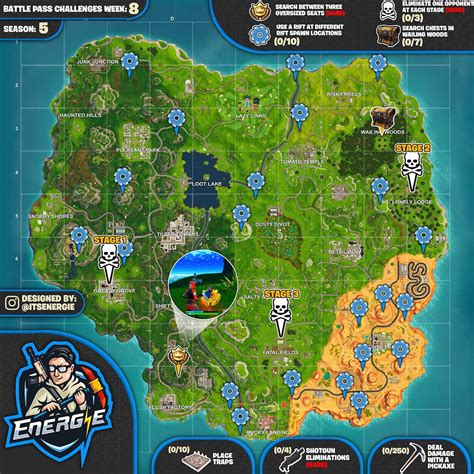 fortnite challenges for season 5 sheet map for fortnite challenges season 5 week 8