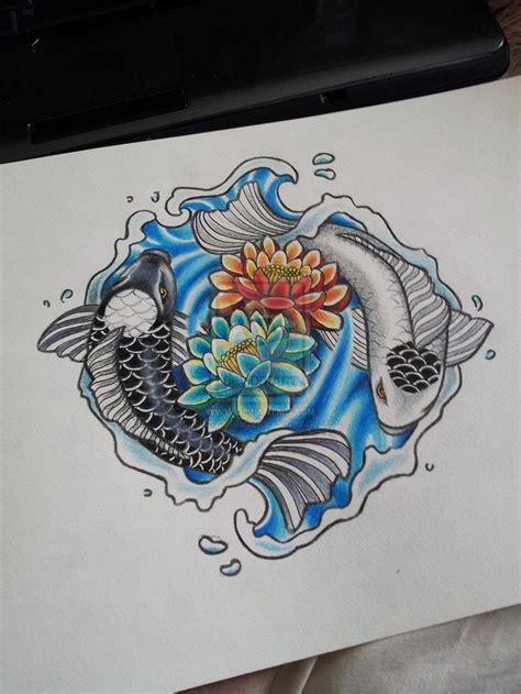 yin yang rose tattoo coy fish ying and yang tattoos but circling roses for