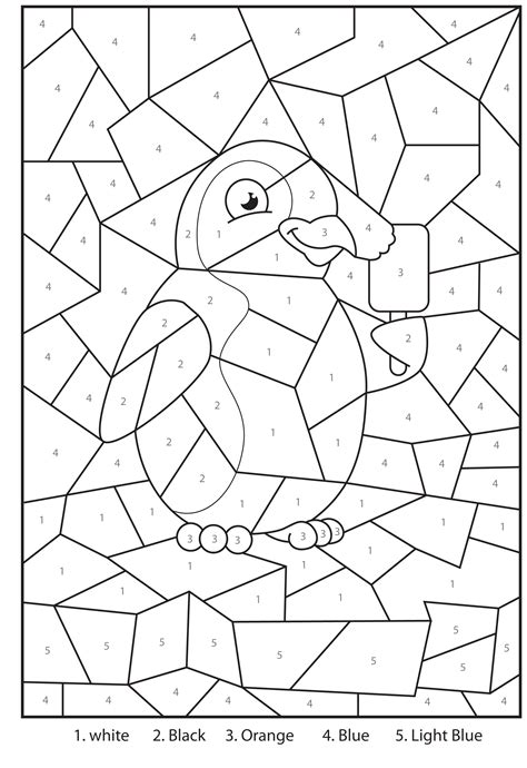 printable colour by number worksheets free printable penguin at the zoo colour by numbers