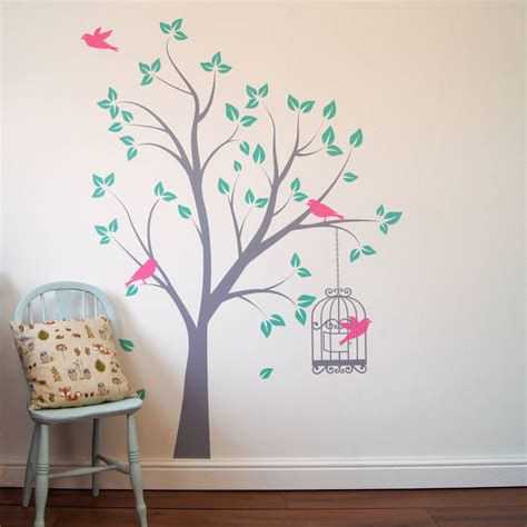 Birdcage Wall Art Stickers tree with bird cage wall stickers by parkins interiors