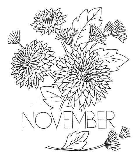 flowers of the month coloring pages vintage flower of the month transfer november embroider