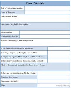 tenant complaint form sample tenant complaint form