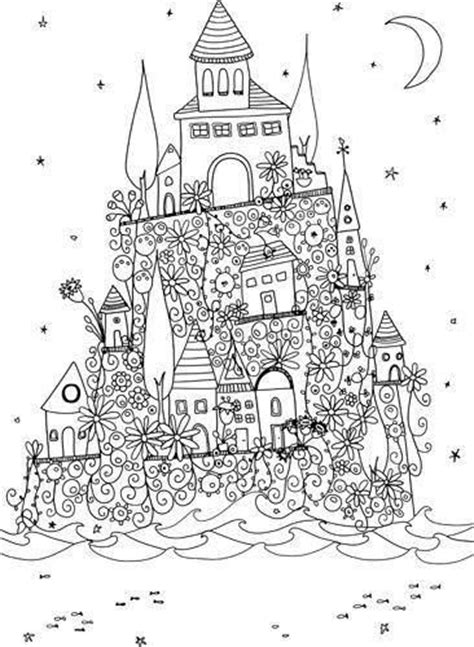 doodle castle combination joli coloriage coloring therapy free