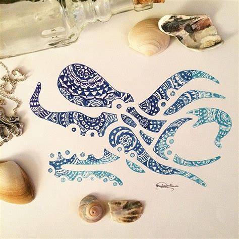 minimalist octopus tattoo aztec mandala octopus zentangle doodle pinterest