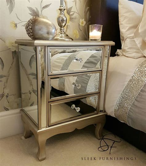 side table bedroom pair of mirrored bedside tables mirrored bedroom furniture