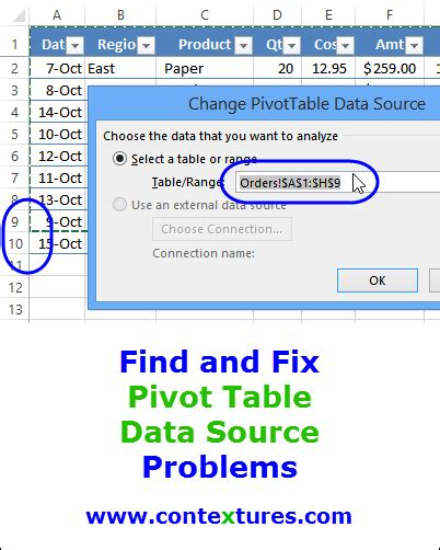 Pivot Table Change Data Source Find And Fix Pivot Table Source Data Contextures