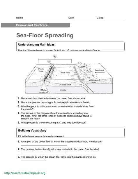 sea floor spreading worksheet  sea floor