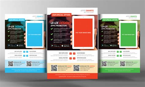 flyer design software for android mobile apps promotion flyer template flyer templates on