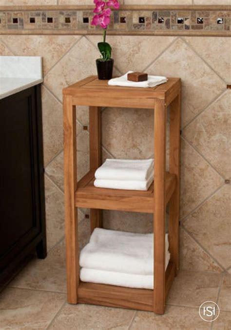 three tier teak towel shelf shelves teak and natural
