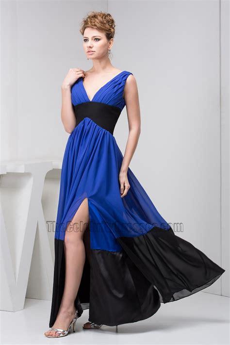 Wst 12011 V Neck Dress Blue royal blue dress and black shoes style guru fashion