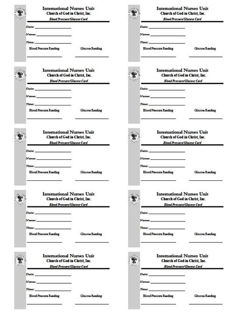 Blood Pressure Cards Template by Search Results International Cogic S Department