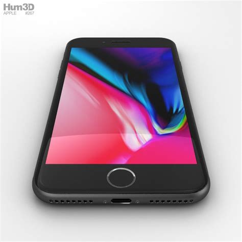 apple iphone 8 plus space gray 3d model hum3d