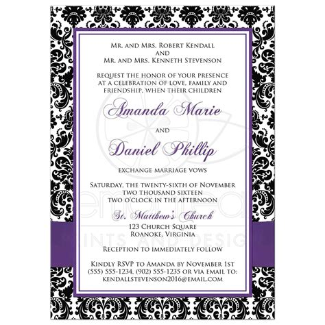 wedding invitations and black photo template wedding invitation black and white damask