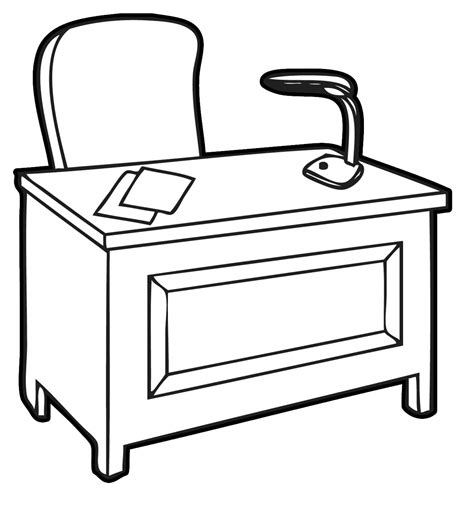 Office Desk Clipart Black And White Clipartxtras