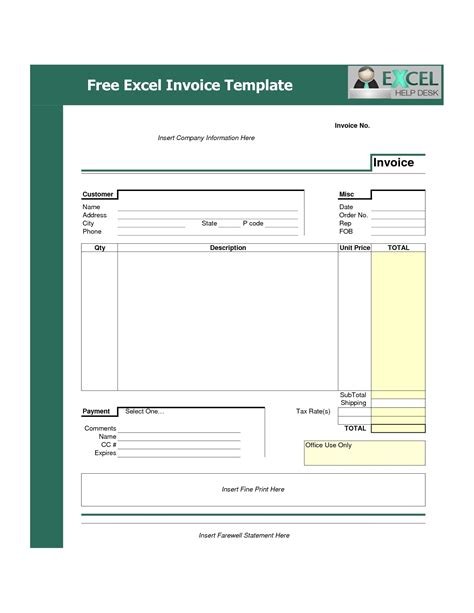 bill format excel free download free excel invoice templates