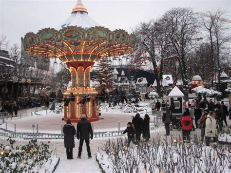 theme park copenhagen inside tivoli amusement park in central copenhagen snow