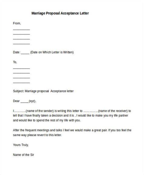 marriage proposal format letter marriage proposal acceptance letter sle docoments