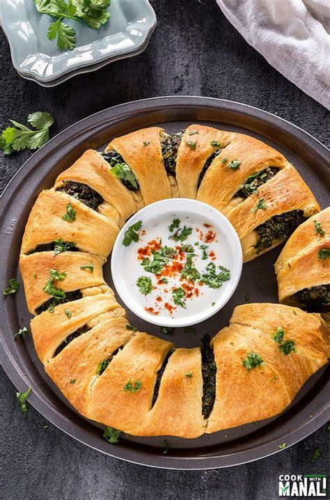 mushroom spinach ricotta crescent ring cook  manali
