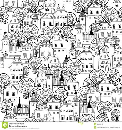 seamless pattern city black and white sketch of the city stock vector