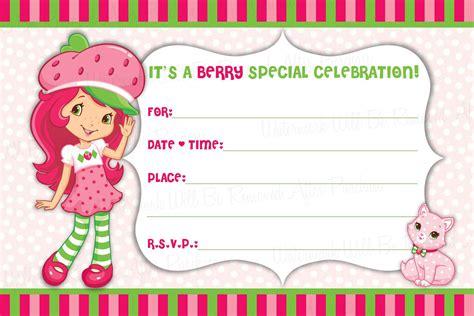 Instant Download Strawberry Shortcake Blank By Maryspartydesigns Strawberry Shortcake Invitation Template Free