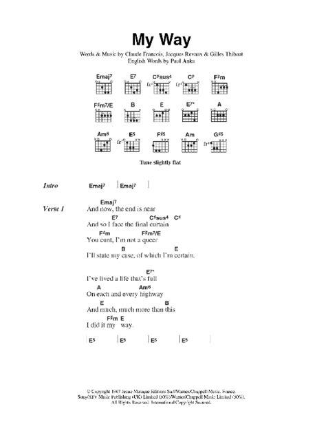 my chords my way by pistols guitar chords lyrics guitar