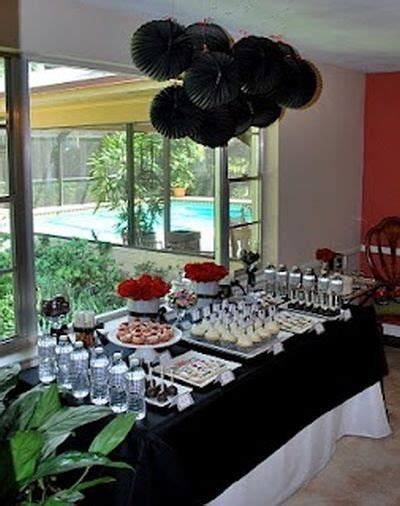 A black color theme at a 50th birthday party is the