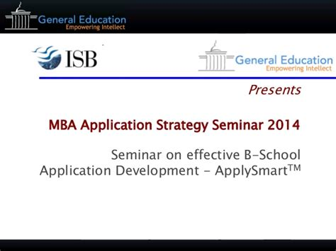 Mba Strategy by General Education Mba Applications Strategy