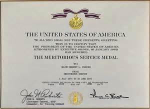meritorious service medal citation template major parsons