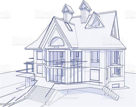 house blueprint  technical concept draw stock