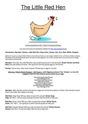 printable version of little red hen the little red hen musical assembly for reception ks1 by