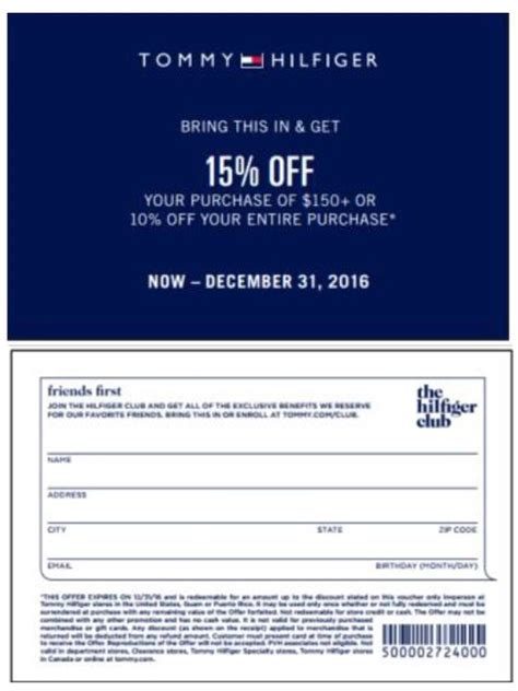 Hilfiger Printable Coupon