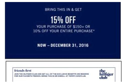 tommy hilfiger in store coupon canada