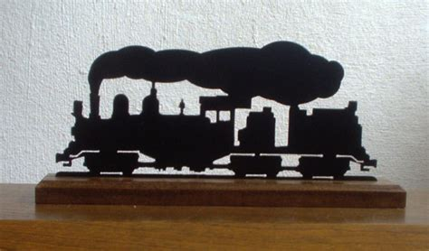 shay steam locomotive metal silhouette set in by