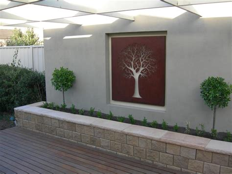 home decor outdoor unique garden with modern design using white outdoor accent wall feat wall arts outdoor accent