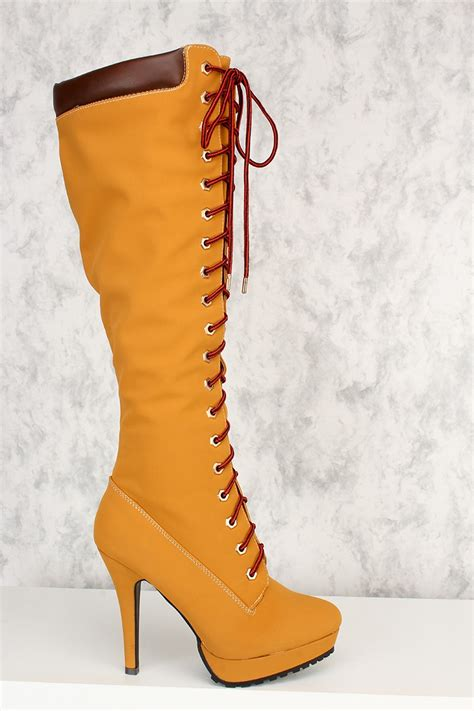 high heel boot shoes honey wheat front lace up platform knee high heel boots nubuck