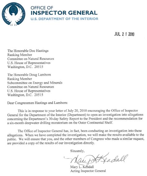 Experience Letter Demo Interior Dept Inspector General Investigating Post Facto Falsified Statements From Engineers On