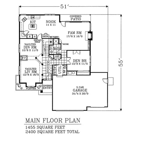 2400 square feet bungalow style house plan 4 beds 2 5 baths 2400 sq ft plan 53 269