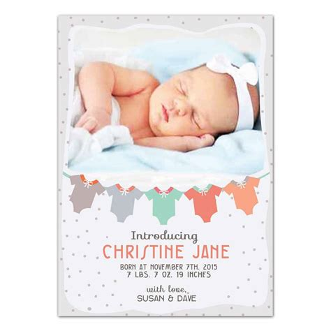 Newborn Baby Card Template by Baby Clothes Newborn Announcement Card Photoshop