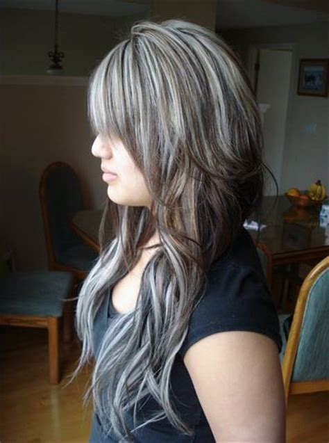 camouflaging gray hair with highlights brown hair with chunky platinum highlights black hair