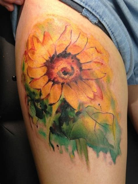 sunflower watercolor tattoo watercolor sunflower creativefan