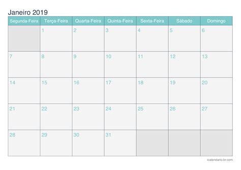 Calendã Janeiro 2019 Calend 225 Janeiro 2019 Para Imprimir Icalend 225 Br