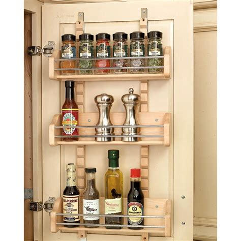 Wooden Spice Cabinet With Doors Rev A Shelf 25 In H X 13 125 In W X 4 In D Medium Cabinet Door Mount Wood Adjustable 3 Shelf