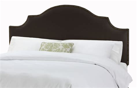 button headboards twin nail button notched headboard in linen black
