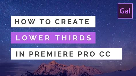 How To Create Lower Thirds Titles In Premiere Pro Cc Youtube Premiere Pro Lower Thirds Templates