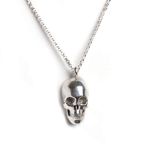 skull necklace silver leivankash jewellery